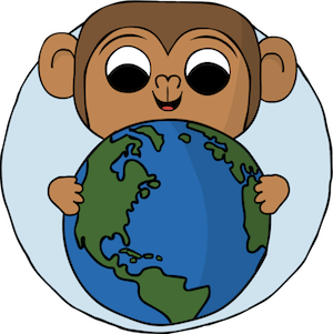 monkey holding the world