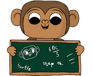 Monkey with green board