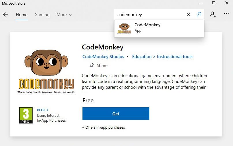 codemonkey windows store listing